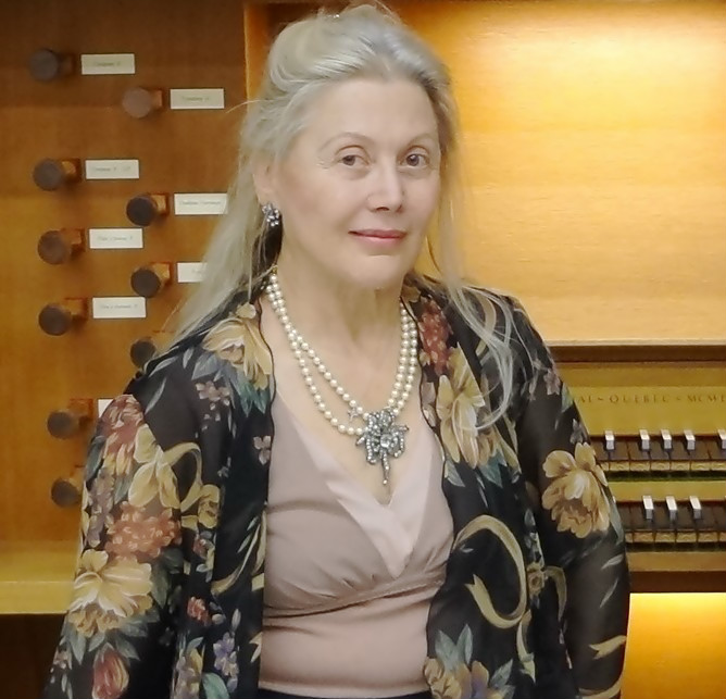 Denise Bassen at the organ at Binghamton University