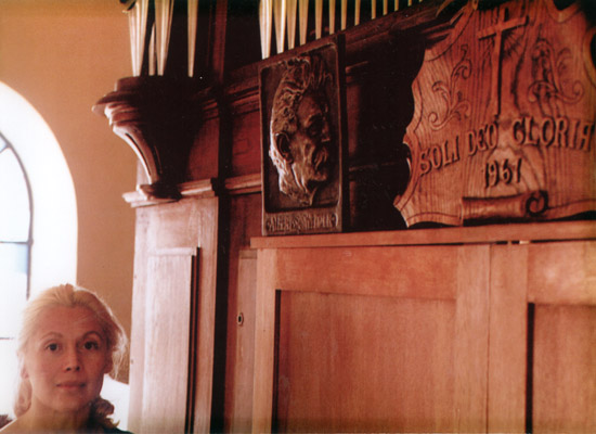 Denise at Albert Schweitzer's Organ.
